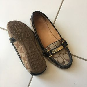 Coach Brown Monogram Leather Trim Loafer Size 7.5